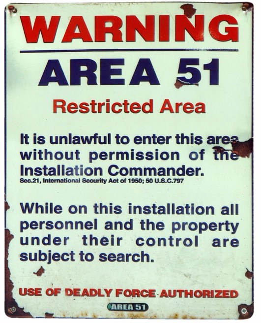 area-51 warning sign