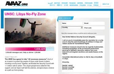 Dit was de oproep van AVAAZ voor de oorlog tegen de Libische burgers..