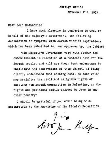 De beruchte Balfour-verkalring, waarin de Rothschilds de staat Israël afdwingen van de Britse regering..
