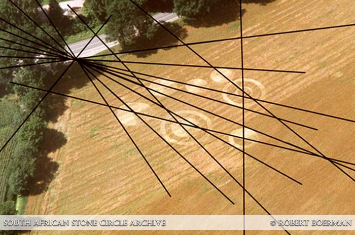 De graancirkel van Brummen, 1997 lag uitgelijnd op een raster van leylijnen