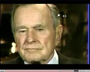 Bush sr. in een tv-interview, waarin met name zijn ogen, bijzonder te keer gaan.. Te zien op YouTube.