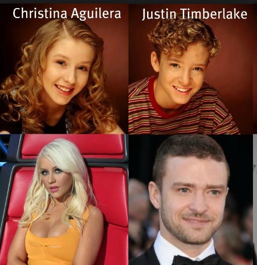 Christina Aguilera en Justin Timberlake, 2 oude 'Mickey Mouse-Club'leden..