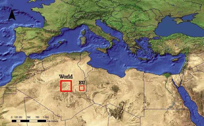 Sahara oppervlak dat nodig is voor energievoorziening via CSP voor Europa en de hele Wereld..!
