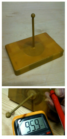 De elektromagneet, verpakt in bijenwas, die onder de grond van akkers wordt begraven. De Gauss-meter toont de kracht van het veld dat de zender verspreid.
