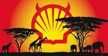 SHELL is ook van plan in de Afrikaanse bush te gaan 'fracken'... Spotprenten als deze kunnen dan niet uitblijven. (Klik voor link naar artikel)