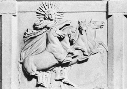 Helios die in zijn strijdwagen het luchtruim doorkruist.