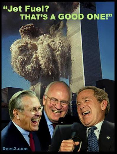 3 van de boeven achter de 9/1-aanslagen in beeld. Donald Rumsfeld, oud-defensie topman, vice-president Dick Cheny (voor velen de duivel in dit plan) en no-know George W. Bush, als de ex-president..