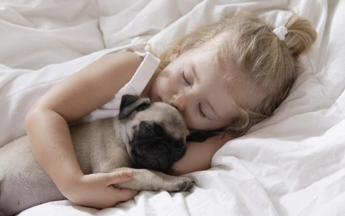 kind met hond slaap