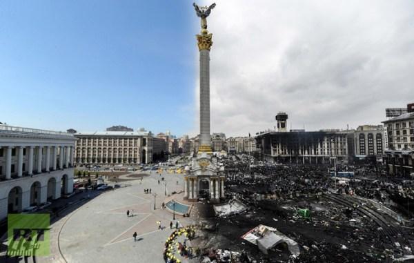 Maidan-plein in Kiev, rechts ná de bloedige opstand, ingefluisterd door Westerse krachten. We schrijven 20 februari 2014