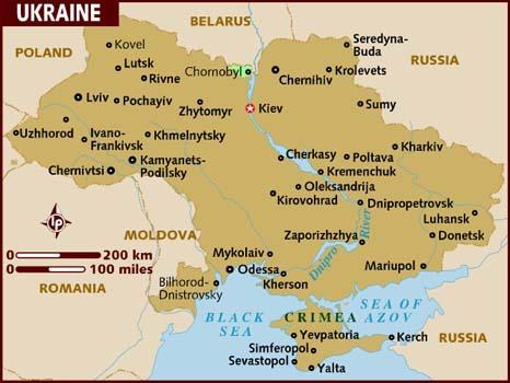 Oekraïne ligt in het gebied ten Noorden van de Zwarte Zee.