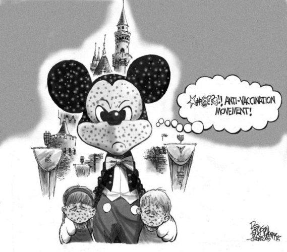 En zo word je als ouder van een ongevaccineerd kind door Mickey Mouse zélf, te kakken gezet..