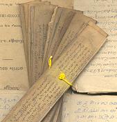 Ayurveda boek op palmblad . Daaronder het handgeschreven boek van de voorouders van Dr. V.P. Mohana Kumari.