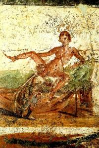 Een fresco uit de ruïnes van Pompeï: orale seks. Als ze de gevaren maar hadden geweten, was het Romeinse rijk vast niet ingestort..