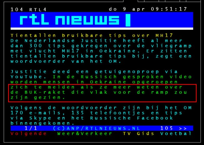 rtl teletekst 9 april MH17 BUK arceer
