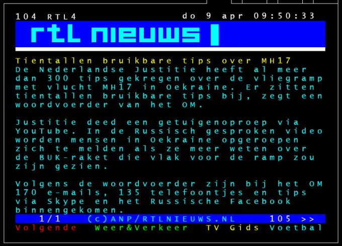 rtl teletekst 9 april MH17 BUK