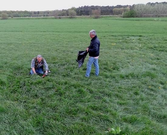 Sjaak Damen bezig om monsters gras te knippen uit een grasformatie in zijn buurt. Sjaak houdt bijzonder nauwkeurig een verzameling van dit soort proefmonsters bij.