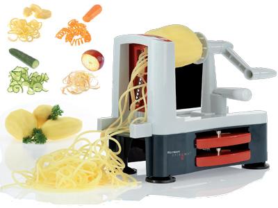 De spiromat draait harde groente tot mooie groentespaghetti..