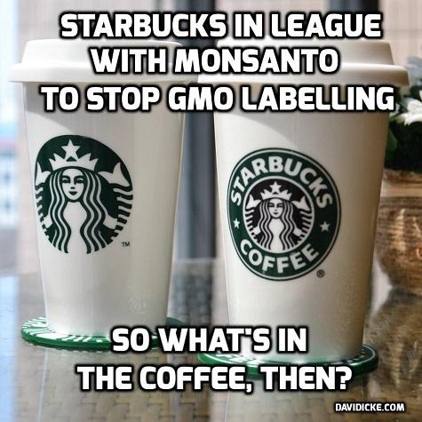 Starbucks en Monsanto lijken dikke maatjes; Starbucks steunde Monsanto in haar manipulatieve non-labeling policy. Verstandig wellicht dat Starbucks daarvan terug komt..??