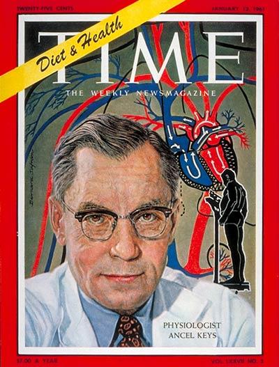 Eén van de locomotieven die de cholesterol-mythe-trein in volle vaart lieten denderen.. Time Magazine met Dr. Ansel Keys op de cover.