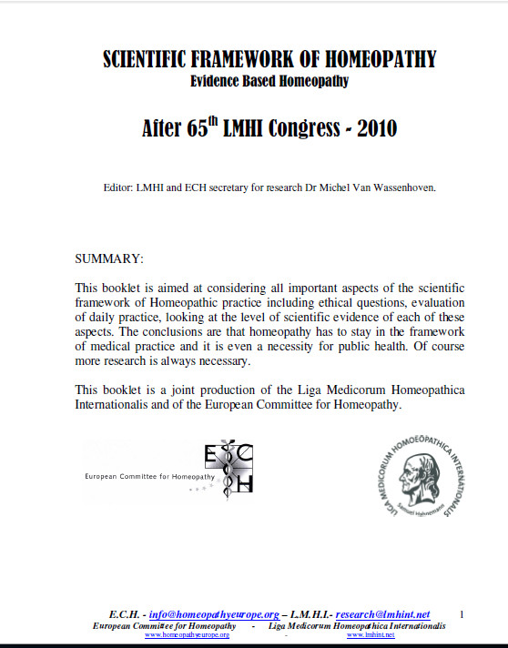 SCIENTIFIC FRAMEWORK OF HOMEOPATHY After 65 LMHI Congress - 2010