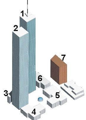 Plattegrond van het WTC-complex.