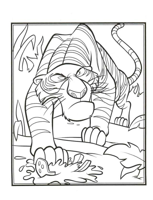 Coloriage Shere Khan Livre de la Jungle à imprimer