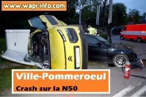 Ville-Pommeroeul : crash sur la N50 - une voiture se retourne