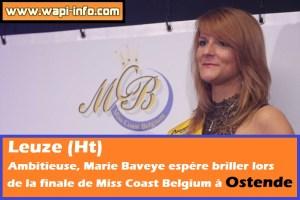 Leuze (Ht) : Marie Baveye en finale de Miss Coast Belgium à Ostende