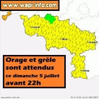 Hainaut : alerte orage et grêle avant ce soir 22h