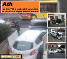 Ath : malaise d'un chauffeur de bus TEC - 4 blessés et 7 véhicules endommagés