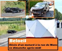 Beloeil : décès d'un motard à la rue de Mons ce dimanche après-midi