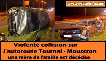(A17) Tournai - Mouscron : violente collision sur l'autoroute - une mère de famille est décédée