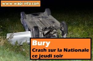 Bury : crash sur la Nationale ce jeudi soir