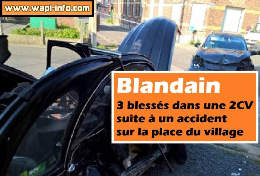 Blandain blesses accident 2 cv