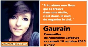 Gaurain : funérailles de Amandine Lefebvre ce samedi 10 octobre 2015 à 9h30
