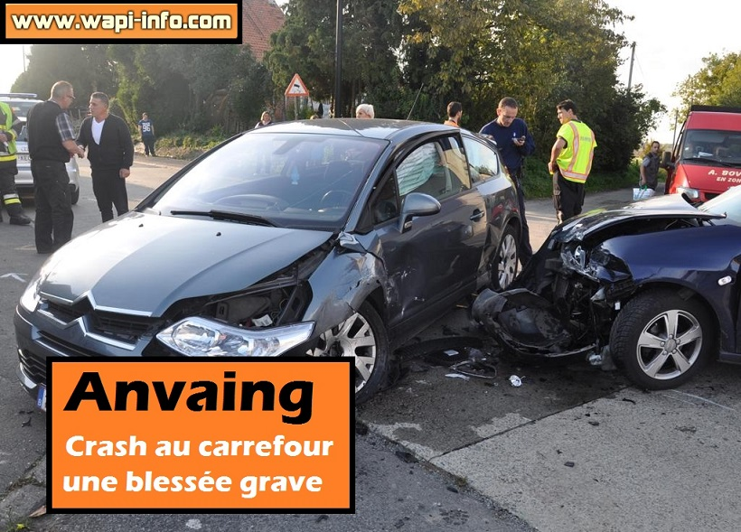 Anvaing crash carrefour blessee grave