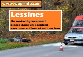 Lessines : un motard gravement blessé