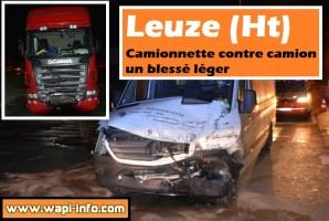 Leuze (Ht) : camionnette contre camion - un blessé léger
