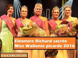 Eléonore Richard sacrée Miss Wallonie picarde 2016