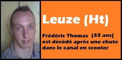 Leuze (Ht) : décés de Frédéric Thomas (33 ans) après une chute mortelle en scooter dans le canal