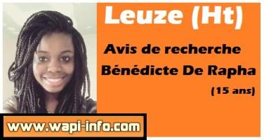 Leuze (Ht) : avis de recherche pour Bénédicte De Rapha (15 ans)