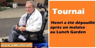 Tournai : Henri a été dépouillé après un malaise au Lunch Garden