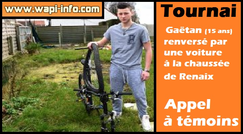 Tournai accident velo appel a témoins