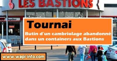 Tournai : butin d'un cambriolage abandonné dans un containers aux Bastions