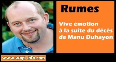 Rumes : vive émotion à la suite du décès de Manu (39 ans)
