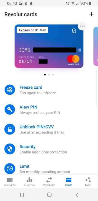 Revolut card screenshot fraud protection
