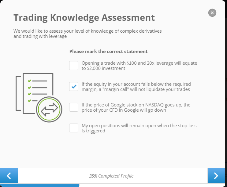 Etoro Trading Knowledge assessment question.