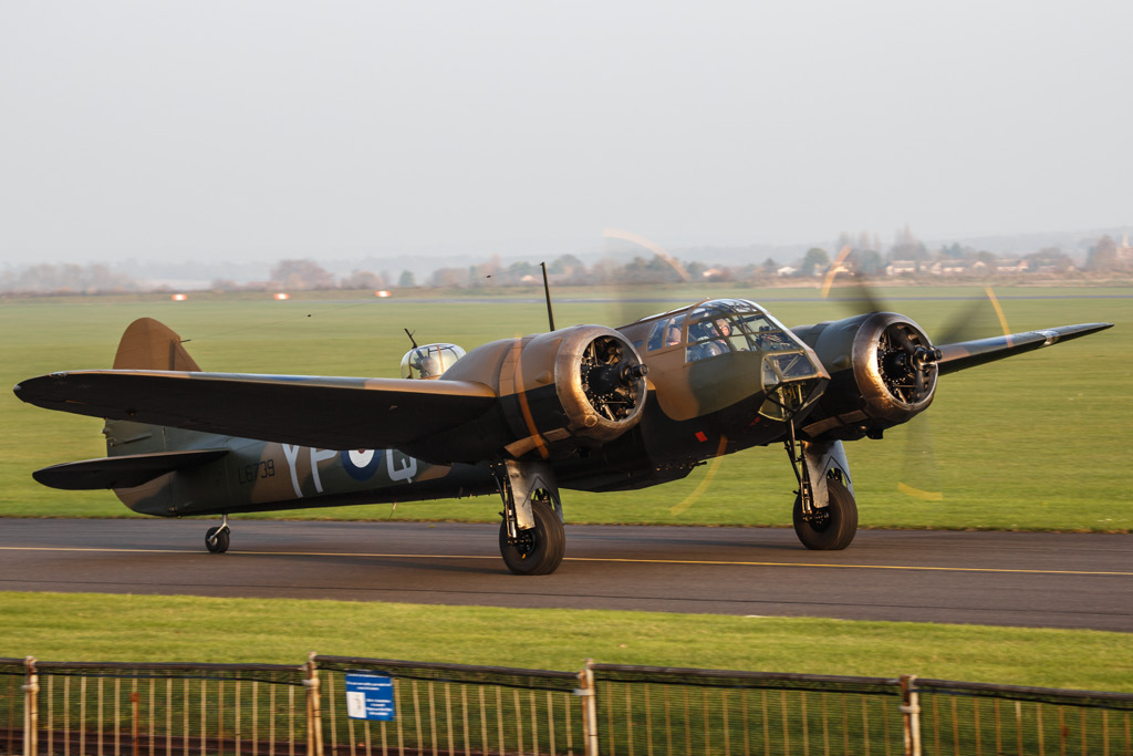 John Romain taxiing L6739 out for take off on Thursday with John Gilmore sitting beside him. (photo by George Land via Global Aviation Resource)