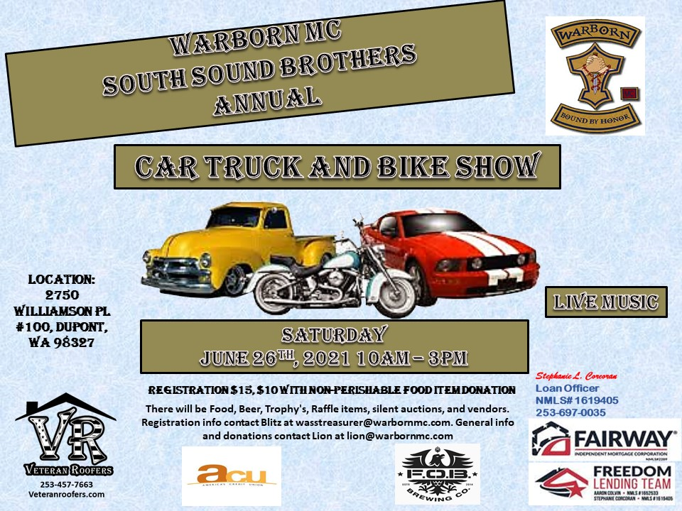 Warborn MC South Sound Brothers Annual Car, Truck and Bike Show