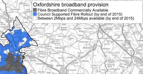 This map has been published by the Council and appears to show that Wardington should receive 24Mbps broadband by the end of 2015.  However, until the detailed plans are released we will not be sure who will receive this connectivity.